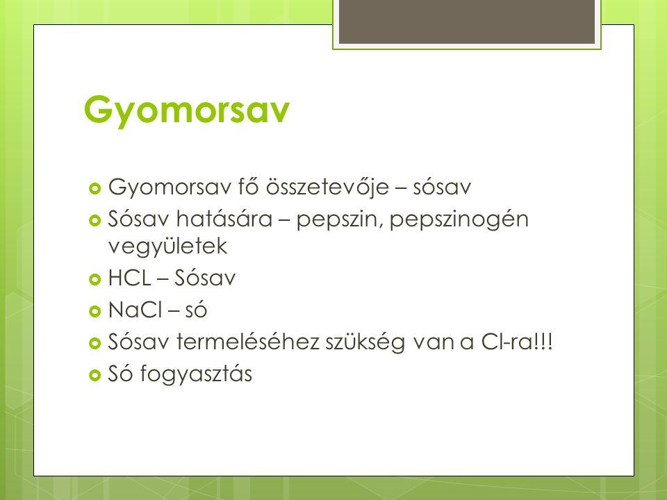 Gyomorsav  Gyomorsav fő összetevője – sósav  Sósav hatására – pepszin, pepszinogén vegyületek  HCL – Sósav  NaCl – só  Sósav termeléséhez szükség van a Cl-ra!!.