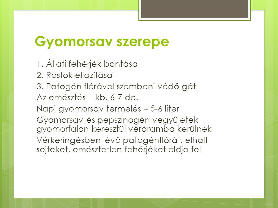 Gyomorsav szerepe 1.Állati fehérjék bontása 2. Rostok ellazítása 3.