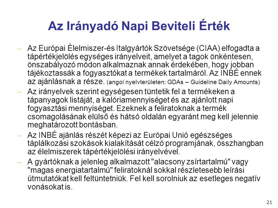 Az Irányadó Napi Beviteli Érték  Az Európai Élelmiszer-és Italgyártók Szövetsége (CIAA) elfogadta a tápértékjelölés egységes irányelveit, amelyet a t