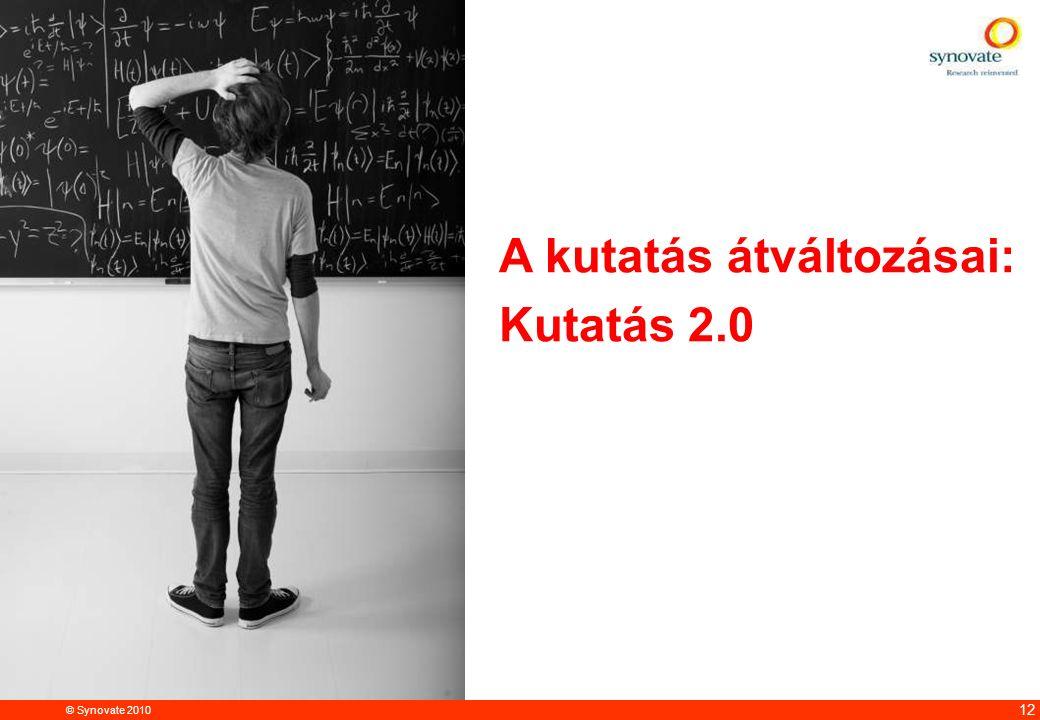 © Synovate 2010 12.00 8.70 5.48 4.63 8.24 5.73 5.27 10.7012.200.50 3.41 12 A kutatás átváltozásai: Kutatás 2.0