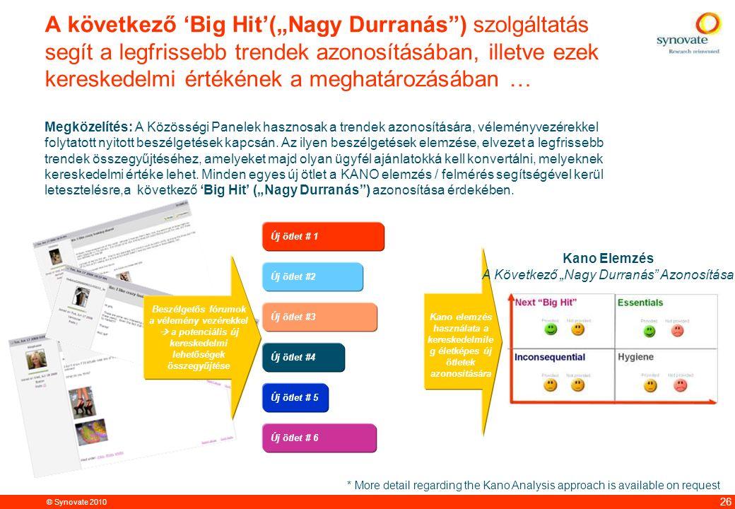 """© Synovate 2010 12.00 8.70 5.48 4.63 8.24 5.73 5.27 10.7012.200.50 3.41 26 A következő 'Big Hit'(""""Nagy Durranás"""") szolgáltatás segít a legfrissebb tre"""