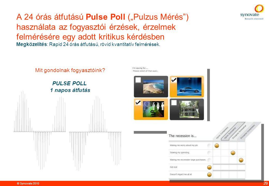 """© Synovate 2010 12.00 8.70 5.48 4.63 8.24 5.73 5.27 10.7012.200.50 3.41 29 A 24 órás átfutású Pulse Poll (""""Pulzus Mérés"""") használata az fogyasztói érz"""