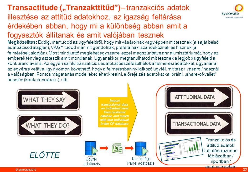 """© Synovate 2010 12.00 8.70 5.48 4.63 8.24 5.73 5.27 10.7012.200.50 3.41 32 Transactitude (""""Tranzakttitűd )– tranzakciós adatok illesztése az attitűd adatokhoz, az igazság feltárása érdekében abban, hogy mi a különbség abban amit a fogyasztók állítanak és amit valójában tesznek Megközelítés: Eddig, már tudod az ügyfeleidről, hogy mit vásárolnak vagy éppen mit tesznek (a saját belső adatbázisod alapján), VAGY tudod már mit gondolnak, preferálnak, szándékoznak és hisznek (a felmérések alapján)."""