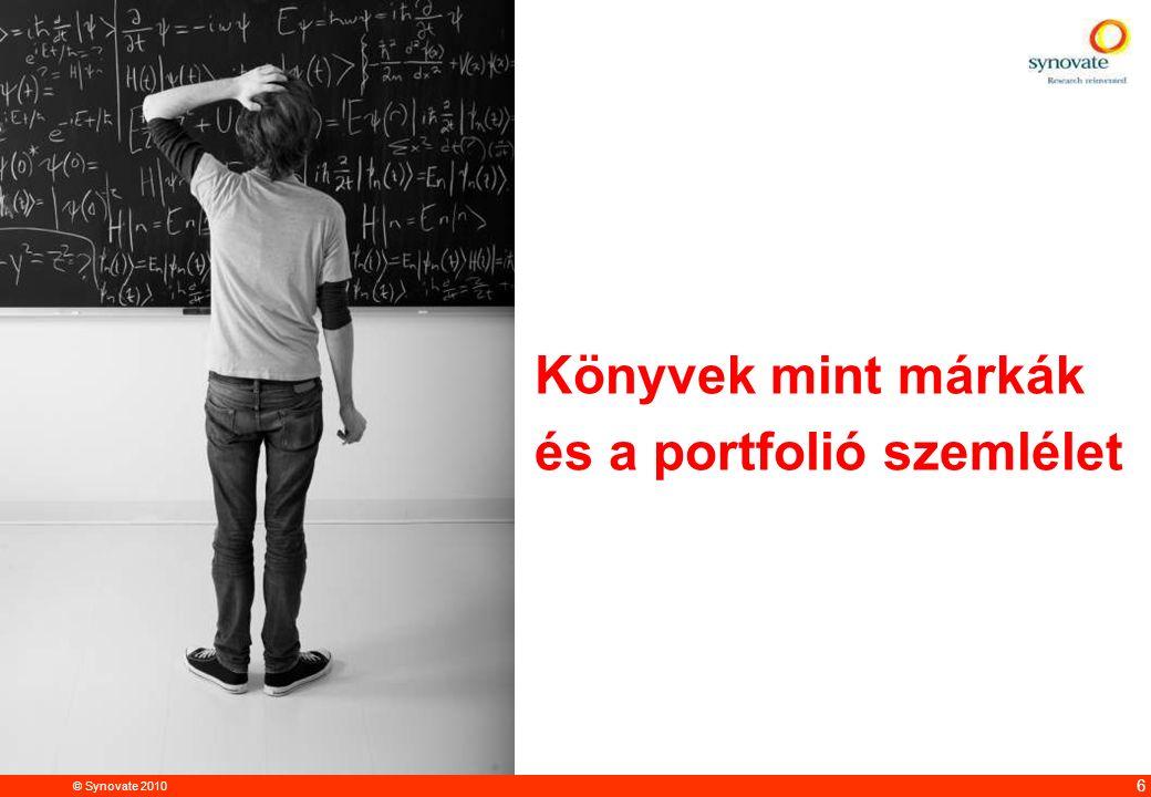 © Synovate 2010 12.00 8.70 5.48 4.63 8.24 5.73 5.27 10.7012.200.50 3.41 6 Könyvek mint márkák és a portfolió szemlélet