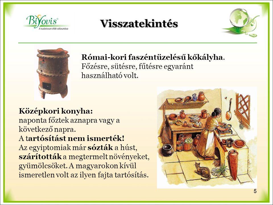 Visszatekintés Római-kori faszéntüzelésű kőkályha. Főzésre, sütésre, fűtésre egyaránt használható volt. Középkori konyha: naponta főztek aznapra vagy