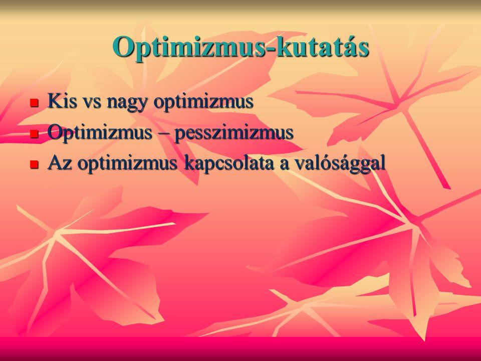 Optimizmus-kutatás Kis vs nagy optimizmus Kis vs nagy optimizmus Optimizmus – pesszimizmus Optimizmus – pesszimizmus Az optimizmus kapcsolata a valósággal Az optimizmus kapcsolata a valósággal