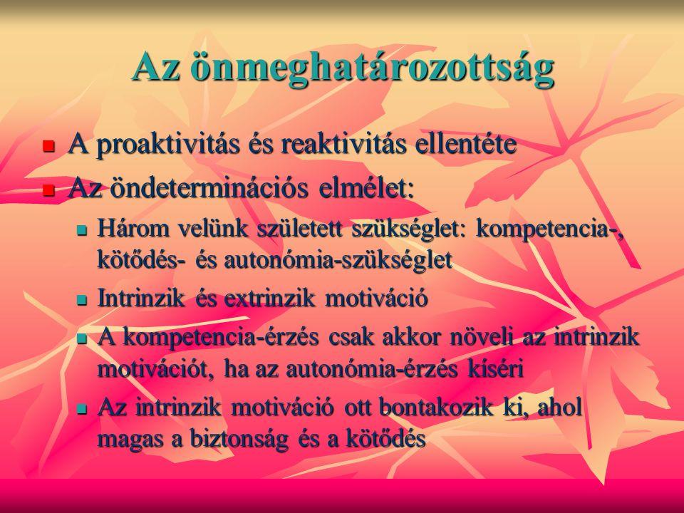 Az önmeghatározottság A proaktivitás és reaktivitás ellentéte A proaktivitás és reaktivitás ellentéte Az öndeterminációs elmélet: Az öndeterminációs elmélet: Három velünk született szükséglet: kompetencia-, kötődés- és autonómia-szükséglet Három velünk született szükséglet: kompetencia-, kötődés- és autonómia-szükséglet Intrinzik és extrinzik motiváció Intrinzik és extrinzik motiváció A kompetencia-érzés csak akkor növeli az intrinzik motivációt, ha az autonómia-érzés kíséri A kompetencia-érzés csak akkor növeli az intrinzik motivációt, ha az autonómia-érzés kíséri Az intrinzik motiváció ott bontakozik ki, ahol magas a biztonság és a kötődés Az intrinzik motiváció ott bontakozik ki, ahol magas a biztonság és a kötődés