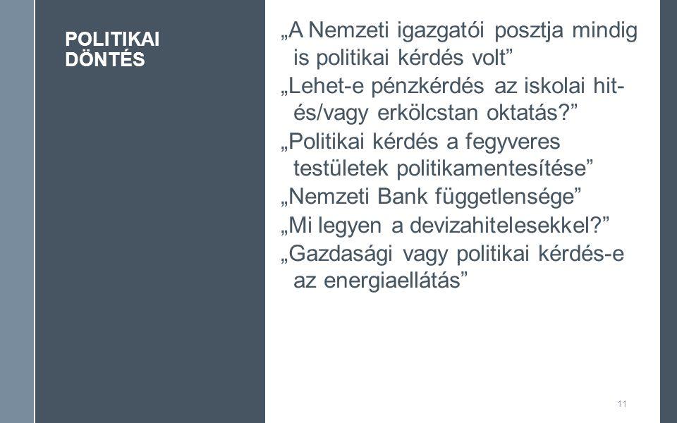"""POLITIKAI DÖNTÉS 11 """"A Nemzeti igazgatói posztja mindig is politikai kérdés volt """"Lehet-e pénzkérdés az iskolai hit- és/vagy erkölcstan oktatás """"Politikai kérdés a fegyveres testületek politikamentesítése """"Nemzeti Bank függetlensége """"Mi legyen a devizahitelesekkel """"Gazdasági vagy politikai kérdés-e az energiaellátás"""