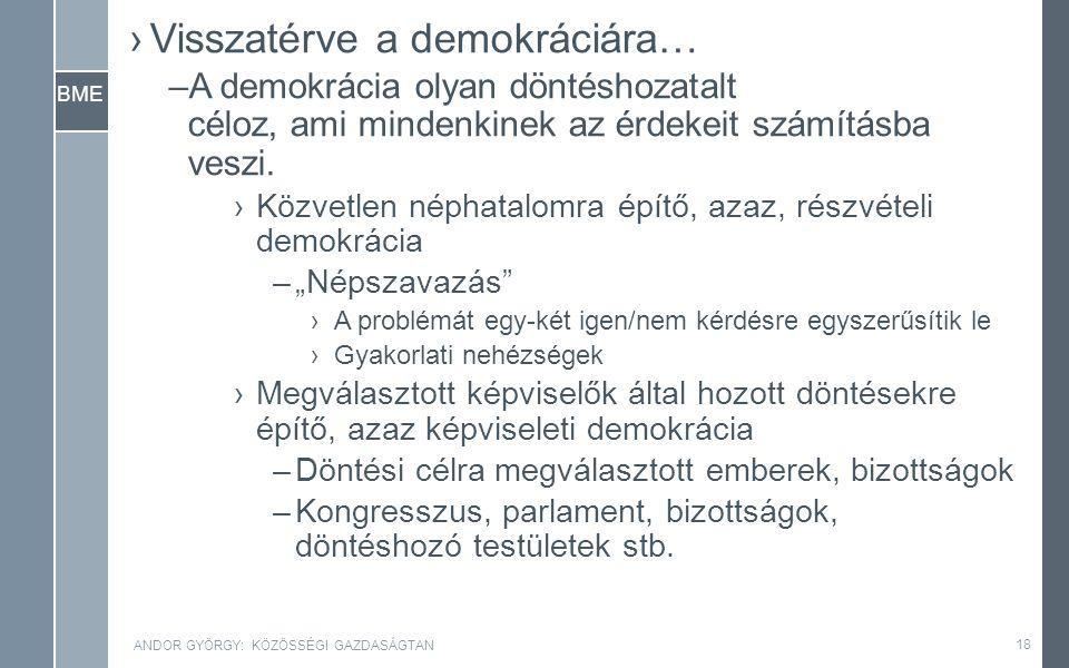 BME ›Visszatérve a demokráciára… –A demokrácia olyan döntéshozatalt céloz, ami mindenkinek az érdekeit számításba veszi.