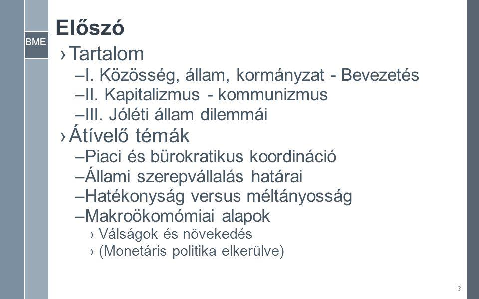 BME Előszó ›Tartalom –I. Közösség, állam, kormányzat - Bevezetés –II.