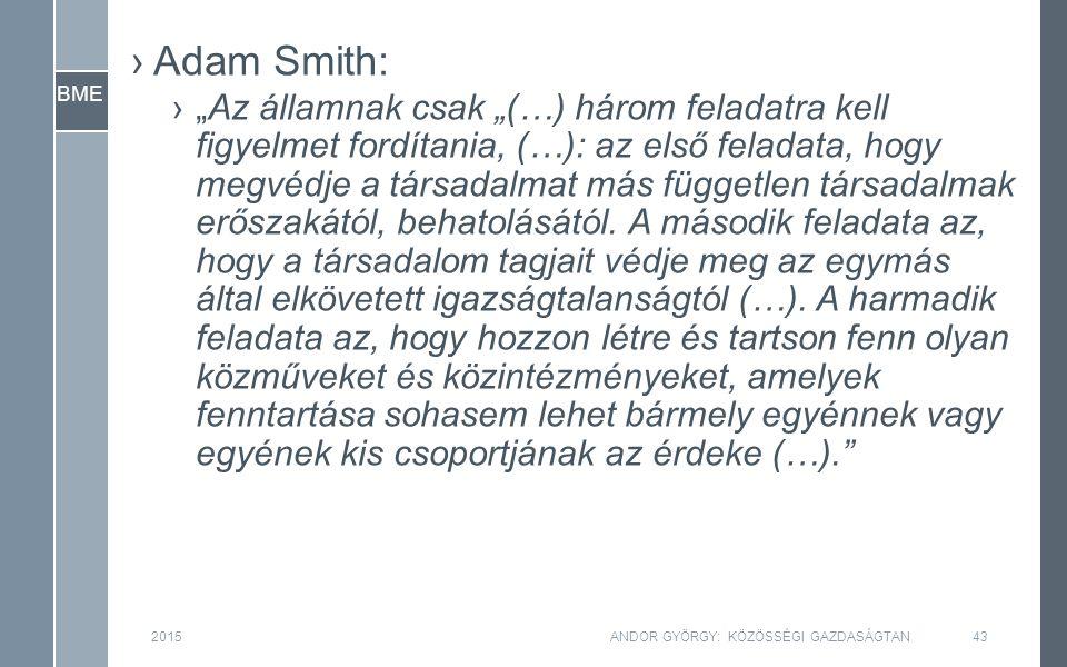"""BME ›Adam Smith: ›""""Az államnak csak """"(…) három feladatra kell figyelmet fordítania, (…): az első feladata, hogy megvédje a társadalmat más független társadalmak erőszakától, behatolásától."""