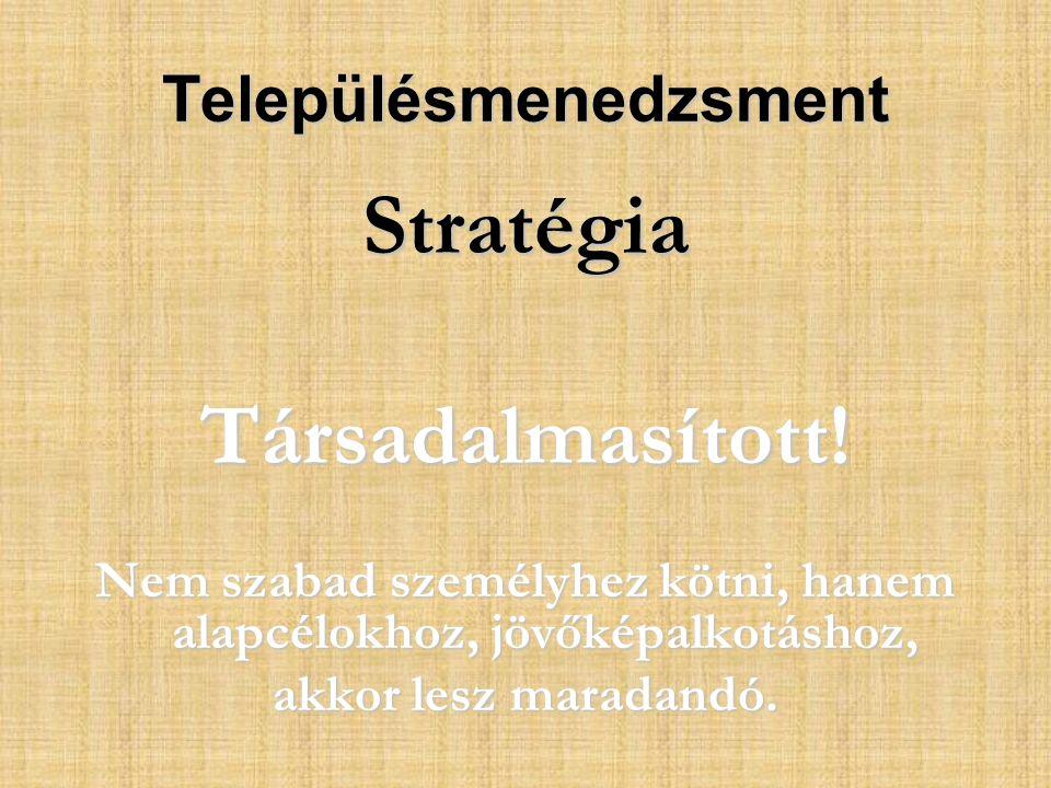 Településmenedzsment StratégiaTársadalmasított.