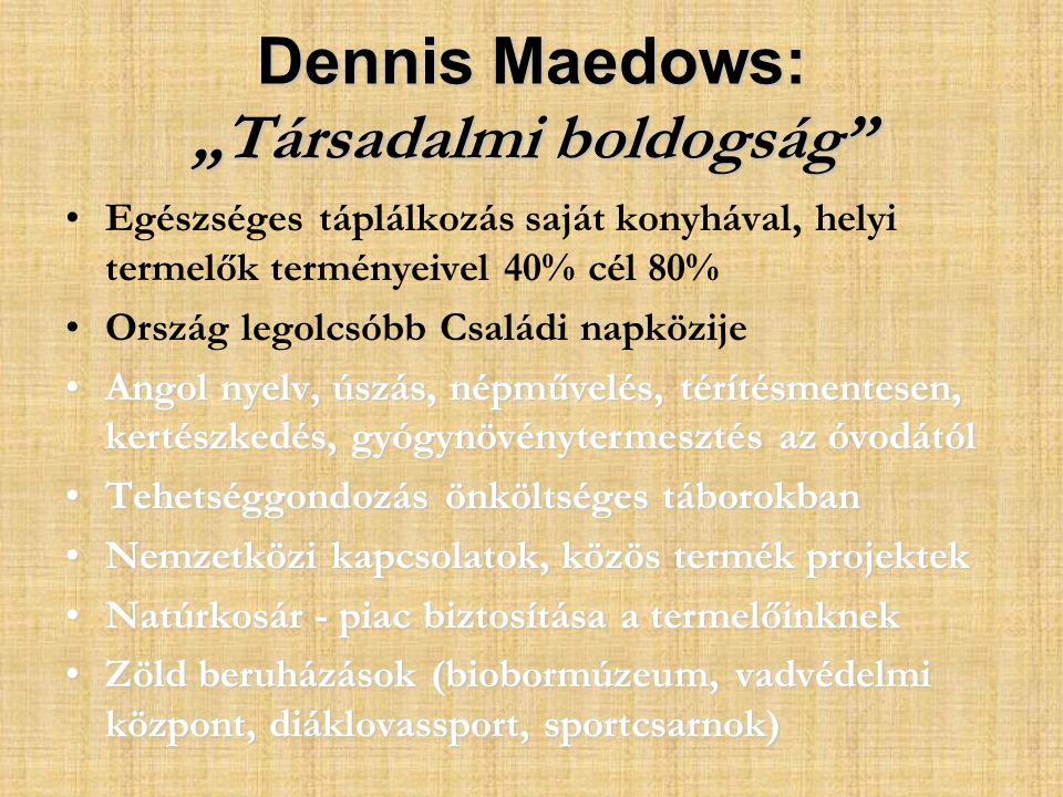 """Dennis Maedows: """"Társadalmi boldogság Egészséges táplálkozás saját konyhával, helyi termelők terményeivel 40% cél 80% Ország legolcsóbb Családi napközije Angol nyelv, úszás, népművelés, térítésmentesen, kertészkedés, gyógynövénytermesztés az óvodátólAngol nyelv, úszás, népművelés, térítésmentesen, kertészkedés, gyógynövénytermesztés az óvodától Tehetséggondozás önköltséges táborokbanTehetséggondozás önköltséges táborokban Nemzetközi kapcsolatok, közös termék projektekNemzetközi kapcsolatok, közös termék projektek Natúrkosár - piac biztosítása a termelőinknekNatúrkosár - piac biztosítása a termelőinknek Zöld beruházások (biobormúzeum, vadvédelmi központ, diáklovassport, sportcsarnok)Zöld beruházások (biobormúzeum, vadvédelmi központ, diáklovassport, sportcsarnok)"""