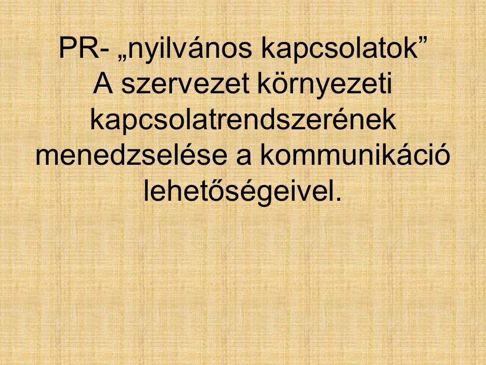 """PR- """"nyilvános kapcsolatok"""" A szervezet környezeti kapcsolatrendszerének menedzselése a kommunikáció lehetőségeivel."""
