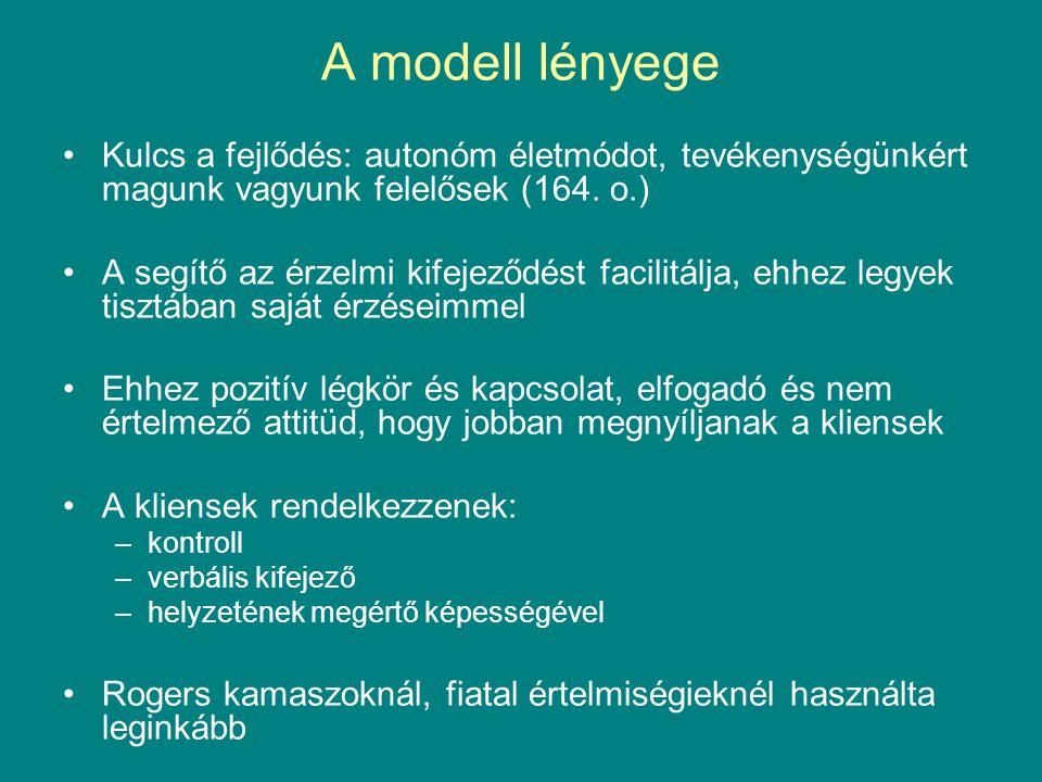 A modell lényege Kulcs a fejlődés: autonóm életmódot, tevékenységünkért magunk vagyunk felelősek (164.