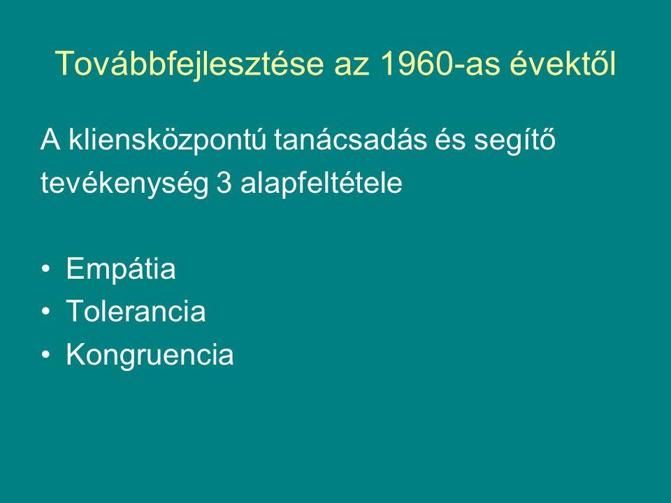 Továbbfejlesztése az 1960-as évektől A kliensközpontú tanácsadás és segítő tevékenység 3 alapfeltétele Empátia Tolerancia Kongruencia