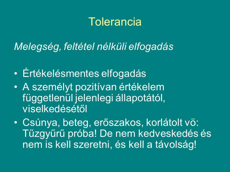 Tolerancia Melegség, feltétel nélküli elfogadás Értékelésmentes elfogadás A személyt pozitívan értékelem függetlenül jelenlegi állapotától, viselkedésétől Csúnya, beteg, erőszakos, korlátolt vö: Tűzgyűrű próba.