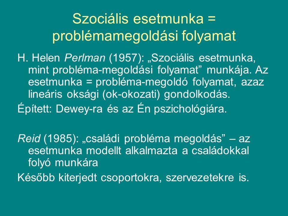 Szociális esetmunka = problémamegoldási folyamat H.