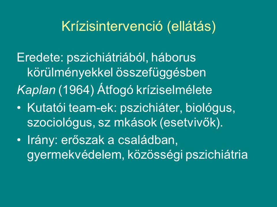 Krízisintervenció (ellátás) Eredete: pszichiátriából, háborus körülményekkel összefüggésben Kaplan (1964) Átfogó kríziselmélete Kutatói team-ek: pszichiáter, biológus, szociológus, sz mkások (esetvivők).