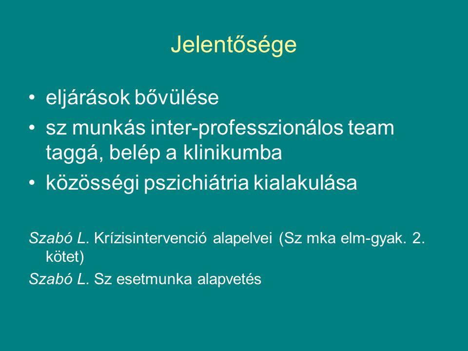 Jelentősége eljárások bővülése sz munkás inter-professzionálos team taggá, belép a klinikumba közösségi pszichiátria kialakulása Szabó L.