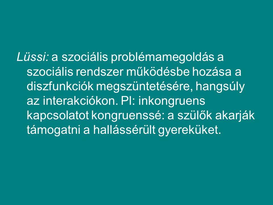Lüssi: a szociális problémamegoldás a szociális rendszer működésbe hozása a diszfunkciók megszüntetésére, hangsúly az interakciókon.