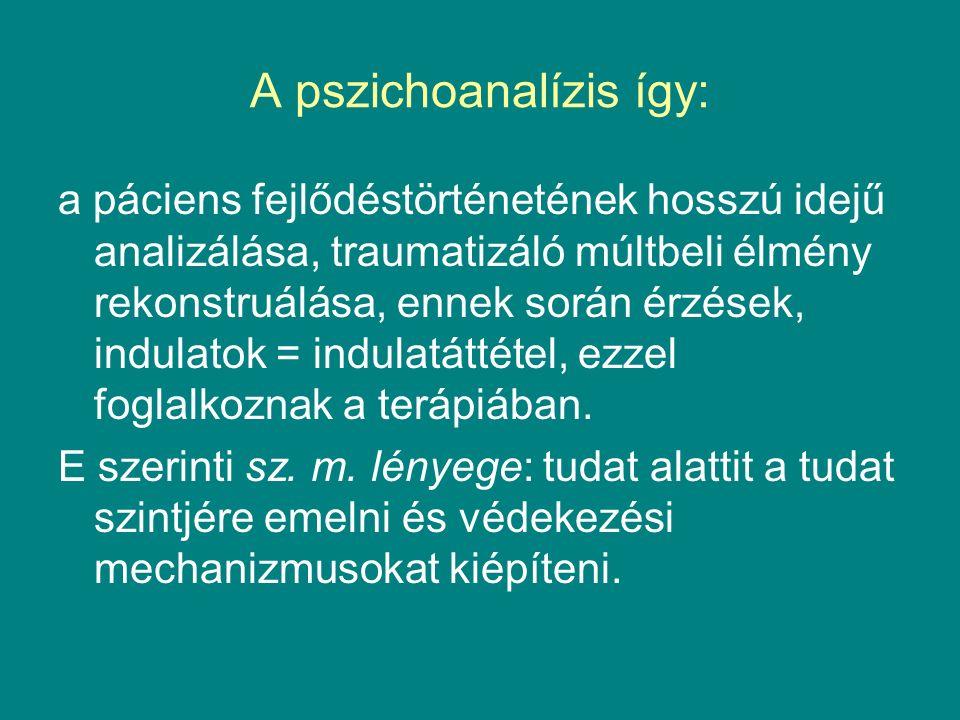 A pszichoanalízis így: a páciens fejlődéstörténetének hosszú idejű analizálása, traumatizáló múltbeli élmény rekonstruálása, ennek során érzések, indulatok = indulatáttétel, ezzel foglalkoznak a terápiában.