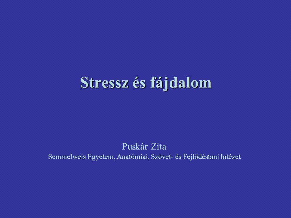 Stressz és fájdalom Puskár Zita Semmelweis Egyetem, Anatómiai, Szövet- és Fejlődéstani Intézet