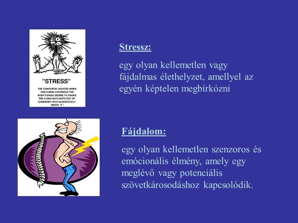 Stressz: egy olyan kellemetlen vagy fájdalmas élethelyzet, amellyel az egyén képtelen megbírkózni Fájdalom: egy olyan kellemetlen szenzoros és emócionális élmény, amely egy meglévő vagy potenciális szövetkárosodáshoz kapcsolódik.