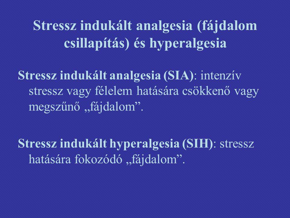"""Stressz indukált analgesia (fájdalom csillapítás) és hyperalgesia Stressz indukált analgesia (SIA): intenzív stressz vagy félelem hatására csökkenő vagy megszűnő """"fájdalom ."""