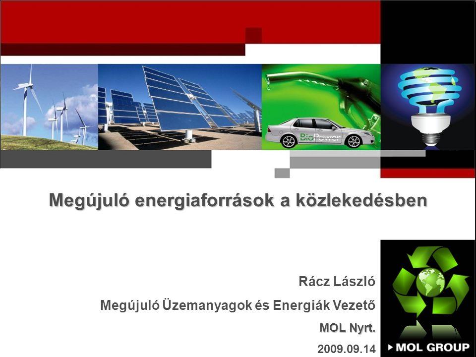 Megújuló energiaforrások a közlekedésben Rácz László Megújuló Üzemanyagok és Energiák Vezető MOL Nyrt.