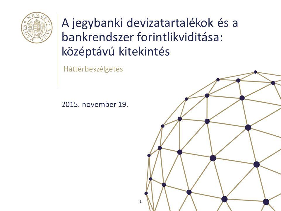A jegybanki devizatartalékok és a bankrendszer forintlikviditása: középtávú kitekintés Háttérbeszélgetés 1 2015. november 19.