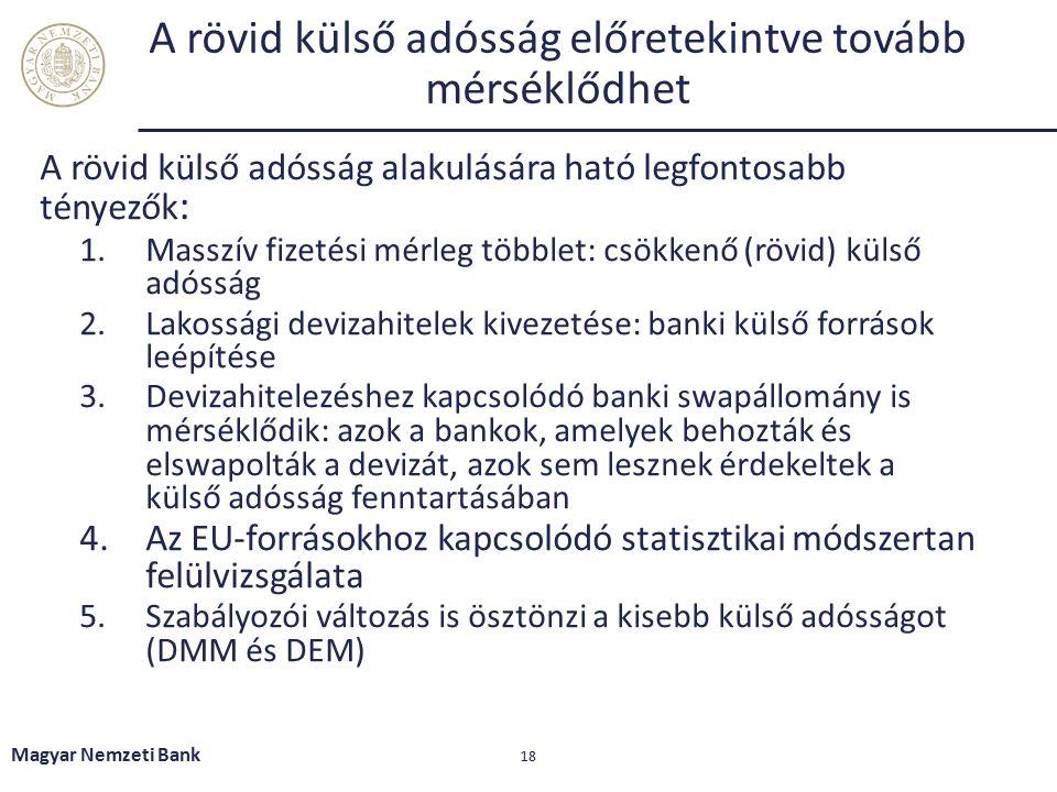 A rövid külső adósság előretekintve tovább mérséklődhet A rövid külső adósság alakulására ható legfontosabb tényezők : 1.Masszív fizetési mérleg többlet: csökkenő (rövid) külső adósság 2.Lakossági devizahitelek kivezetése: banki külső források leépítése 3.Devizahitelezéshez kapcsolódó banki swapállomány is mérséklődik: azok a bankok, amelyek behozták és elswapolták a devizát, azok sem lesznek érdekeltek a külső adósság fenntartásában 4.Az EU-forrásokhoz kapcsolódó statisztikai módszertan felülvizsgálata 5.Szabályozói változás is ösztönzi a kisebb külső adósságot (DMM és DEM) Magyar Nemzeti Bank 18