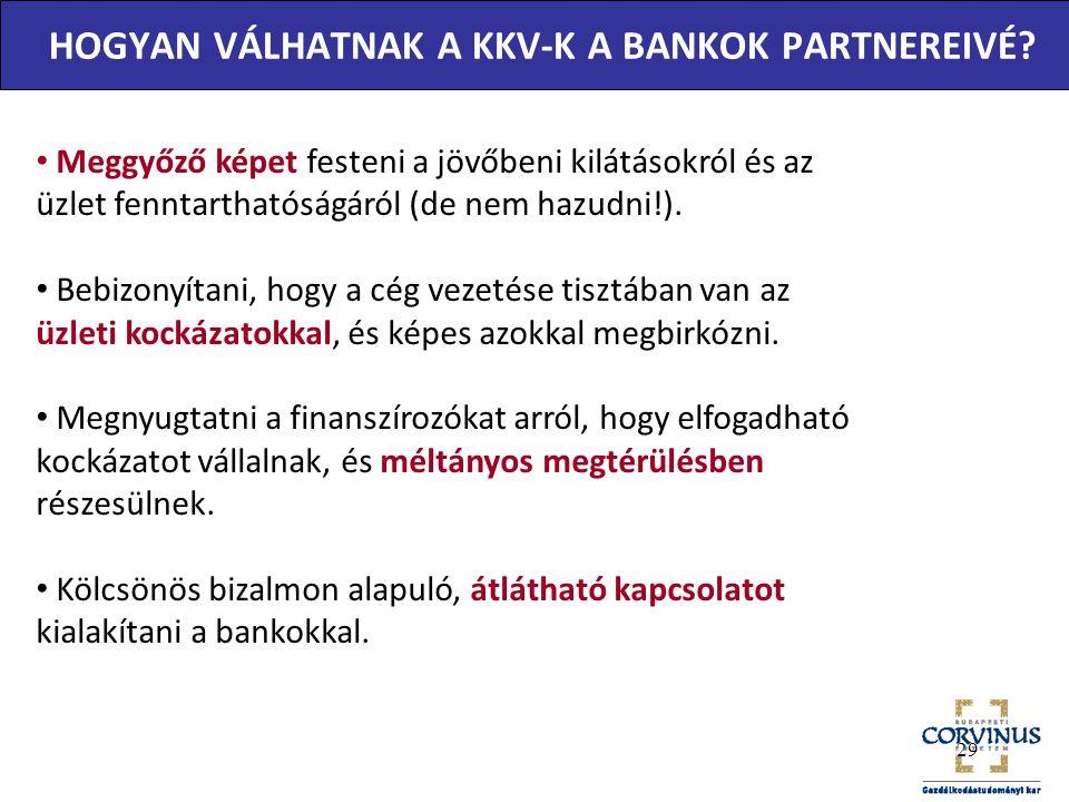 HOGYAN VÁLHATNAK A KKV-K A BANKOK PARTNEREIVÉ.