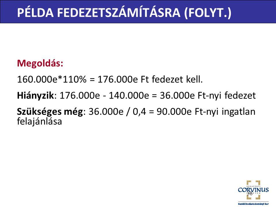 PÉLDA FEDEZETSZÁMÍTÁSRA (FOLYT.) Megoldás: 160.000e*110% = 176.000e Ft fedezet kell.