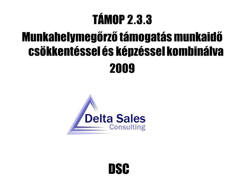 DSC TÁMOP 2. 3. 3 Munkahelymegőrző támogatás munkaidő csökkentéssel és képzéssel kombinálva 2009