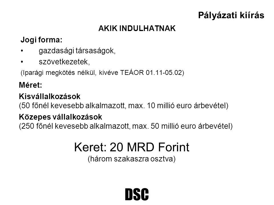 DSC AKIK INDULHATNAK Jogi forma: gazdasági társaságok, szövetkezetek, (Iparági megkötés nélkül, kivéve TEÁOR 01.11-05.02) Pályázati kiírás Méret: Kisv