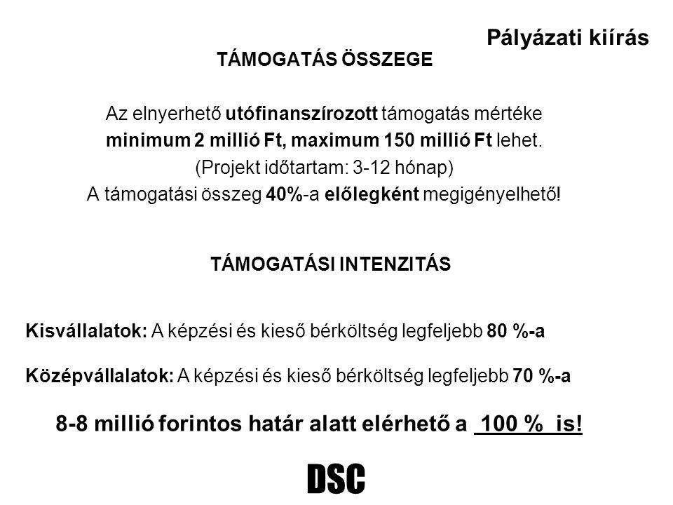 DSC TÁMOGATÁS ÖSSZEGE Az elnyerhető utófinanszírozott támogatás mértéke minimum 2 millió Ft, maximum 150 millió Ft lehet.