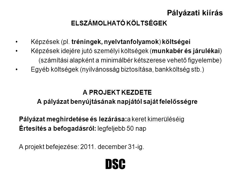 DSC ELSZÁMOLHATÓ KÖLTSÉGEK Képzések (pl. tréningek, nyelvtanfolyamok) költségei Képzések idejére jutó személyi költségek (munkabér és járulékai) (szám