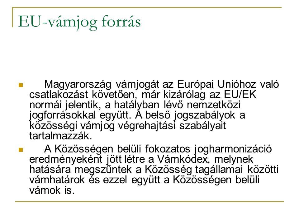 EU-vámjog forrás Magyarország vámjogát az Európai Unióhoz való csatlakozást követően, már kizárólag az EU/EK normái jelentik, a hatályban lévő nemzetközi jogforrásokkal együtt.
