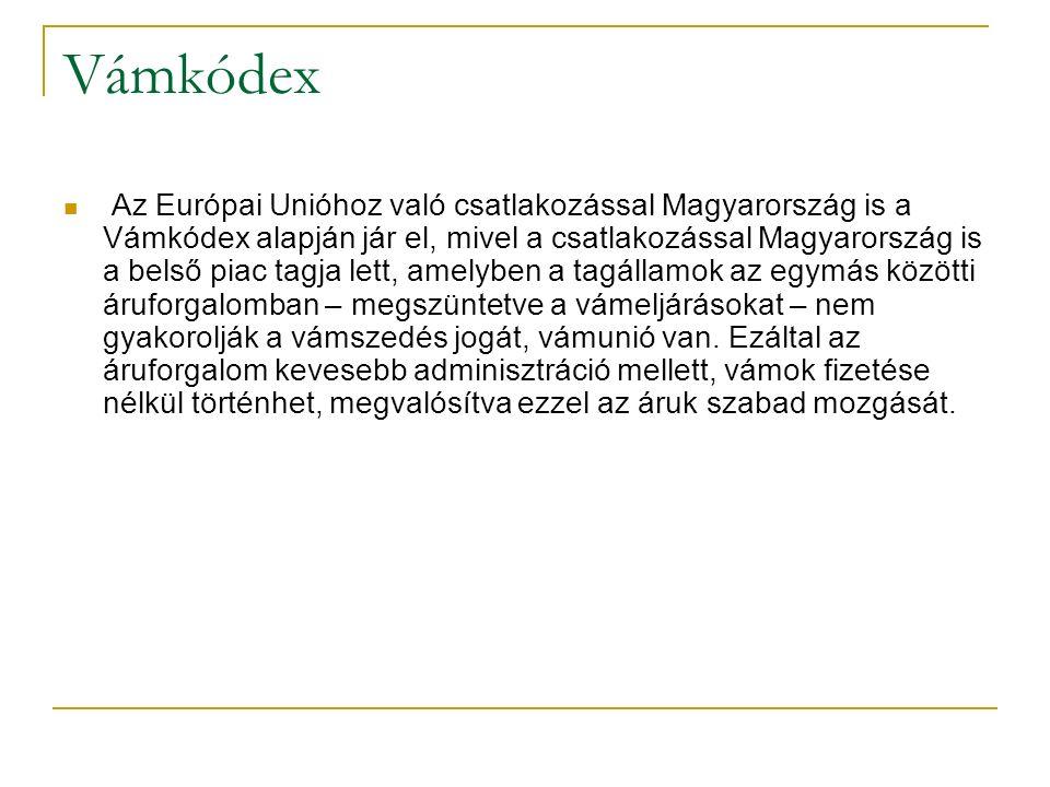 Vámkódex Az Európai Unióhoz való csatlakozással Magyarország is a Vámkódex alapján jár el, mivel a csatlakozással Magyarország is a belső piac tagja lett, amelyben a tagállamok az egymás közötti áruforgalomban – megszüntetve a vámeljárásokat – nem gyakorolják a vámszedés jogát, vámunió van.