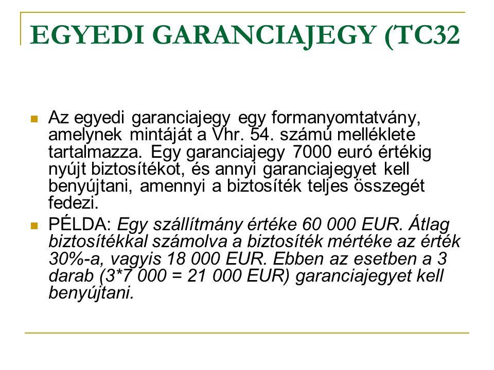 EGYEDI GARANCIAJEGY (TC32 Az egyedi garanciajegy egy formanyomtatvány, amelynek mintáját a Vhr.