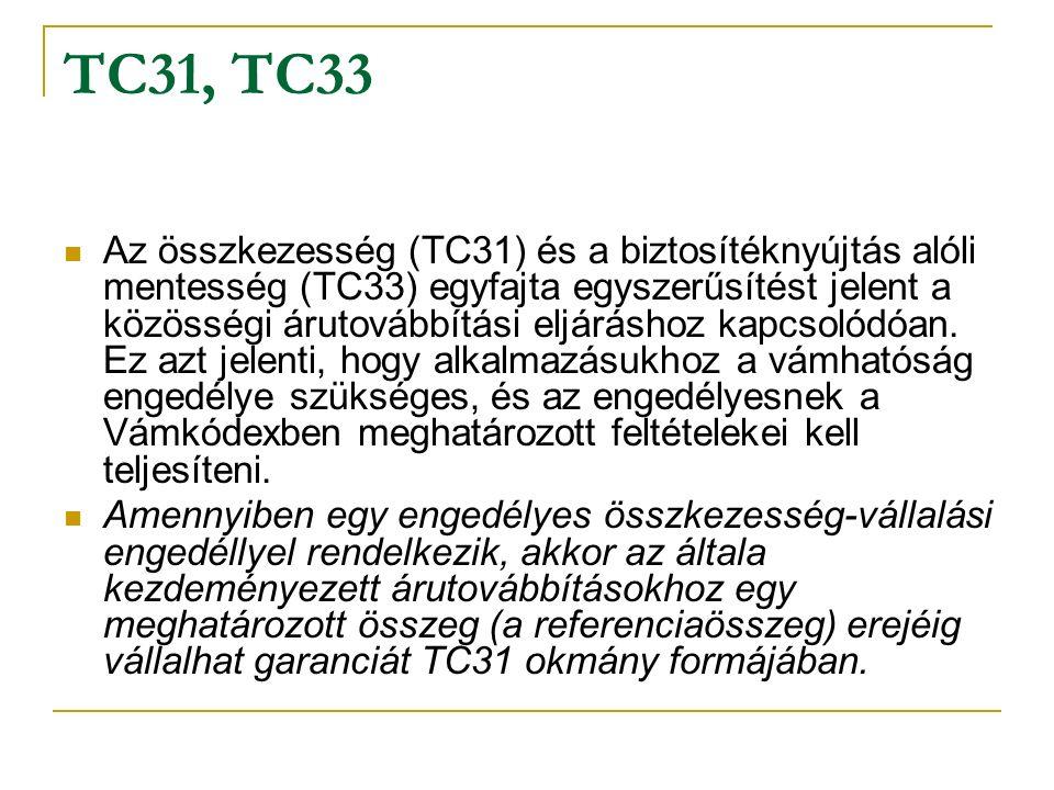 TC31, TC33 Az összkezesség (TC31) és a biztosítéknyújtás alóli mentesség (TC33) egyfajta egyszerűsítést jelent a közösségi árutovábbítási eljáráshoz kapcsolódóan.