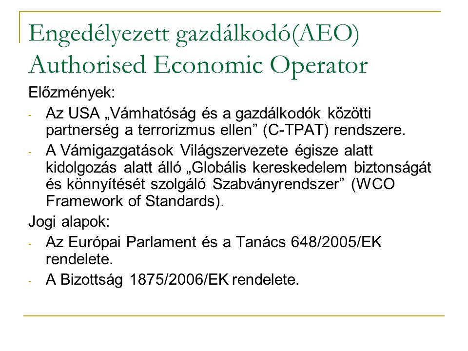 """Engedélyezett gazdálkodó(AEO) Authorised Economic Operator Előzmények: - Az USA """"Vámhatóság és a gazdálkodók közötti partnerség a terrorizmus ellen (C-TPAT) rendszere."""