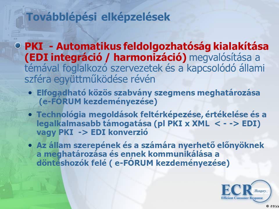 2011  Hungary Továbblépési elképzelések PKI - Automatikus feldolgozhatóság kialakítása (EDI integráció / harmonizáció) megvalósítása a témával foglalkozó szervezetek és a kapcsolódó állami szféra együttműködése révén Elfogadható közös szabvány szegmens meghatározása (e-FÓRUM kezdeményezése) Technológia megoldások feltérképezése, értékelése és a legalkalmasabb támogatása (pl PKI x XML EDI) vagy PKI -> EDI konverzió Az állam szerepének és a számára nyerhető előnyöknek a meghatározása és ennek kommunikálása a döntéshozók felé ( e-FÓRUM kezdeményezése)