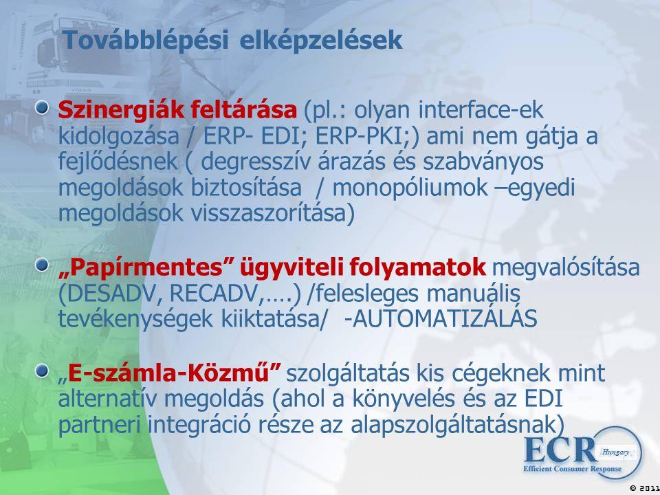 """2011  Hungary Továbblépési elképzelések Szinergiák feltárása (pl.: olyan interface-ek kidolgozása / ERP- EDI; ERP-PKI;) ami nem gátja a fejlődésnek ( degresszív árazás és szabványos megoldások biztosítása / monopóliumok –egyedi megoldások visszaszorítása) """"Papírmentes ügyviteli folyamatok megvalósítása (DESADV, RECADV,….) /felesleges manuális tevékenységek kiiktatása/ -AUTOMATIZÁLÁS """"E-számla-Közmű szolgáltatás kis cégeknek mint alternatív megoldás (ahol a könyvelés és az EDI partneri integráció része az alapszolgáltatásnak)"""