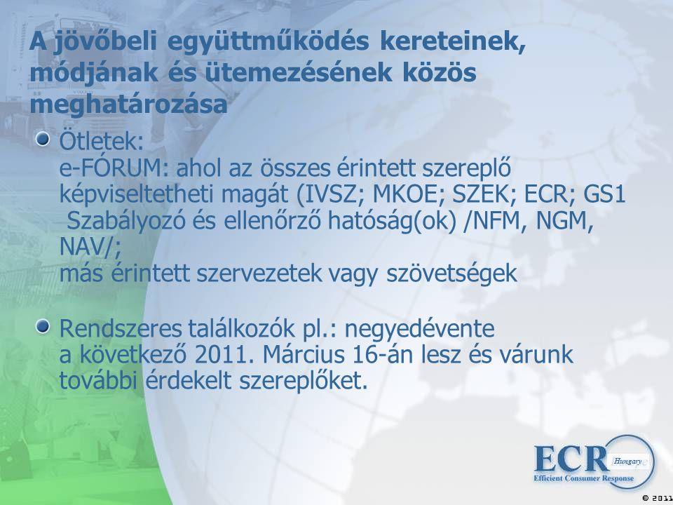 2011  Hungary A jövőbeli együttműködés kereteinek, módjának és ütemezésének közös meghatározása Ötletek: e-FÓRUM: ahol az összes érintett szereplő képviseltetheti magát (IVSZ; MKOE; SZEK; ECR; GS1 Szabályozó és ellenőrző hatóság(ok) /NFM, NGM, NAV/; más érintett szervezetek vagy szövetségek Rendszeres találkozók pl.: negyedévente a következő 2011.