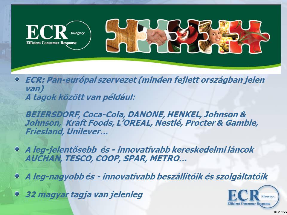 2011  Hungary ECR: Pan-európai szervezet (minden fejlett országban jelen van) A tagok között van például: BEIERSDORF, Coca-Cola, DANONE, HENKEL, Johnson & Johnson, Kraft Foods, L'OREAL, Nestlé, Procter & Gamble, Friesland, Unilever… A leg-jelentősebb és - innovatívabb kereskedelmi láncok AUCHAN, TESCO, COOP, SPAR, METRO… A leg-nagyobb és - innovatívabb beszállítóik és szolgáltatóik 32 magyar tagja van jelenleg Hungary