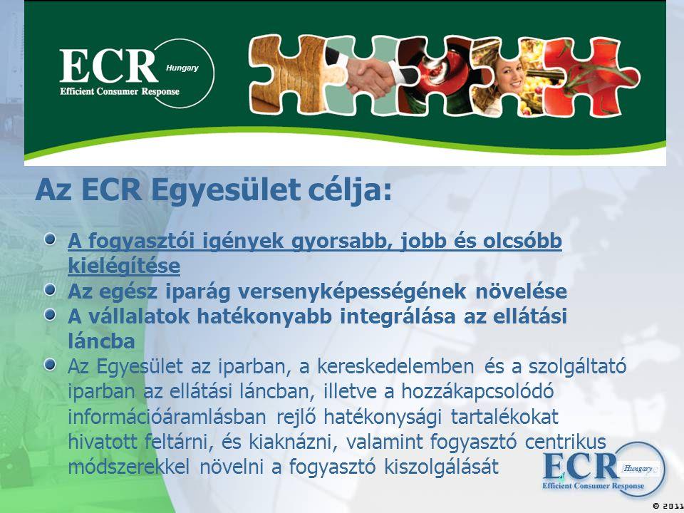 2011  Hungary 4 Az ECR Egyesület célja: A fogyasztói igények gyorsabb, jobb és olcsóbb kielégítése Az egész iparág versenyképességének növelése A vállalatok hatékonyabb integrálása az ellátási láncba Az Egyesület az iparban, a kereskedelemben és a szolgáltató iparban az ellátási láncban, illetve a hozzákapcsolódó információáramlásban rejlő hatékonysági tartalékokat hivatott feltárni, és kiaknázni, valamint fogyasztó centrikus módszerekkel növelni a fogyasztó kiszolgálását Hungary