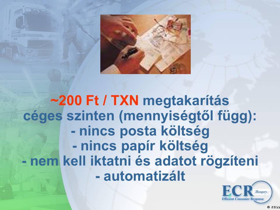 2011  Hungary 8 ~200 Ft / TXN megtakarítás céges szinten (mennyiségtől függ): - nincs posta költség - nincs papír költség - nem kell iktatni és adatot rögzíteni - automatizált