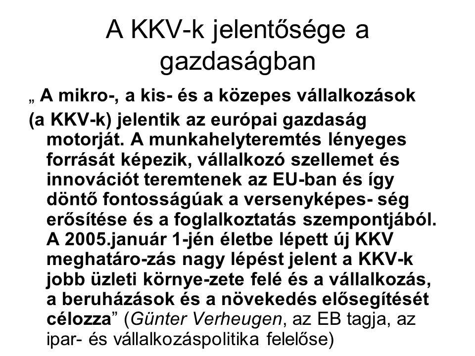 """A KKV-k jelentősége a gazdaságban """" A mikro-, a kis- és a közepes vállalkozások (a KKV-k) jelentik az európai gazdaság motorját."""